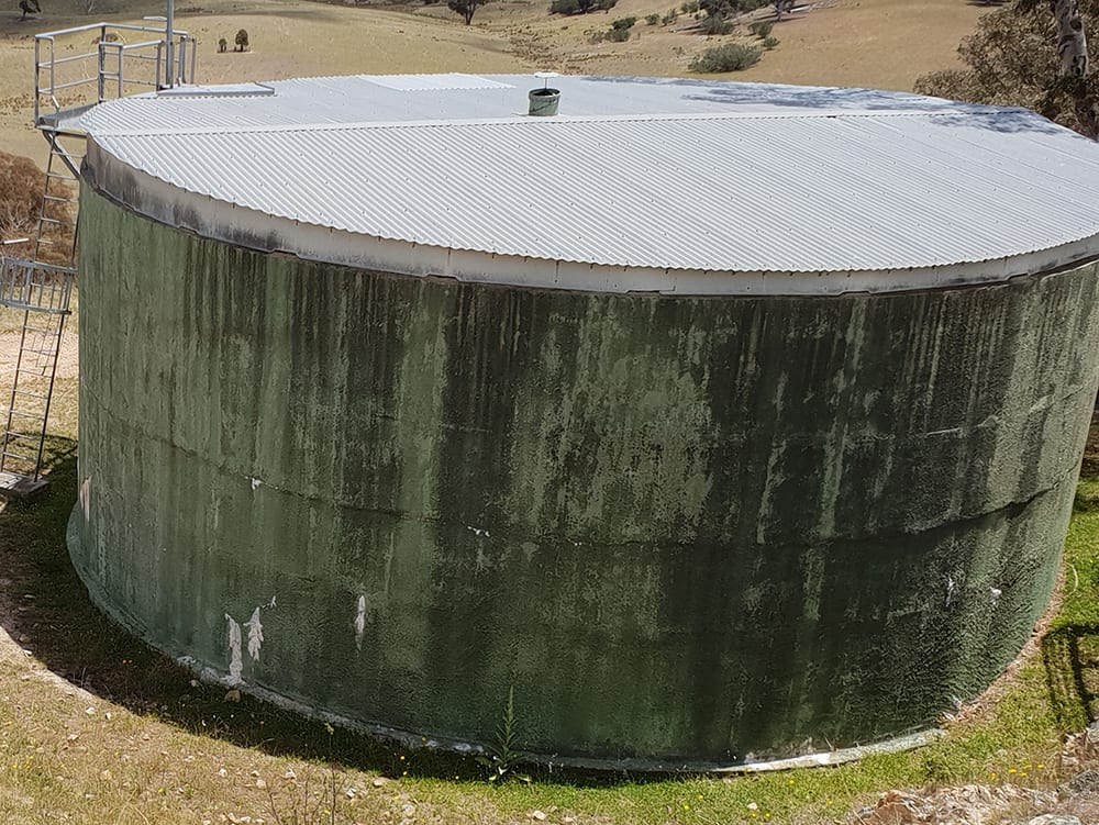 This image shows a 320kl water tank at the CSIRO Deep Tracking Station that was cleaned as a dive job.