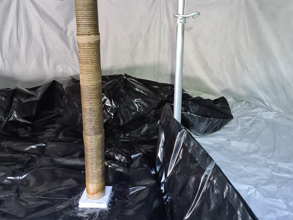 This image shows the how the liner is laid out in the water tank.